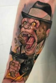 9款龇牙咧嘴的school猩猩头纹身图案
