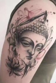 包大臂的一组佛主题纹身作品图片