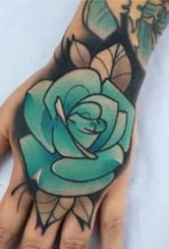 9款漂亮的手背部玫瑰花纹身图片