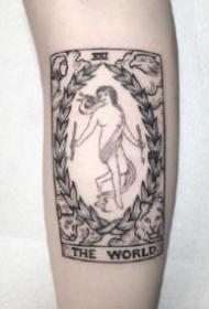 黑灰色的一组塔罗牌纹身图片