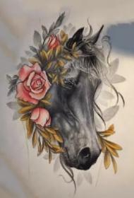 骏马主题的一组纹身马手稿和图片