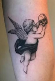 纹身小天使 西方爱神丘比特小天使的纹身图片