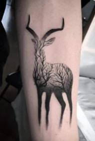 18款小鹿的鹿头纹身作品