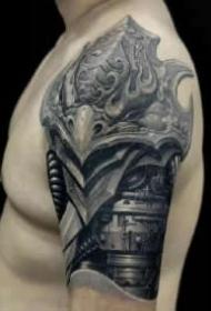 超帅气的男性包手臂的机械手臂纹身图案