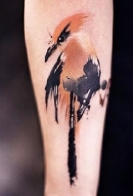 水墨中国风的一组小鸟纹身图片