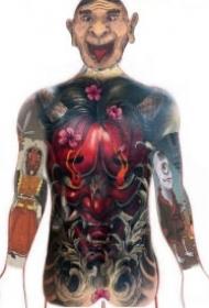 大面积的一组日式传统般若纹身图案