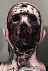 头部后面位置的几款超写实黑灰纹身作品