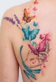 9款小清新的水彩蝴蝶纹身图案