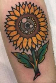 向阳花纹身 夏日一组艳丽的向日葵纹身图片