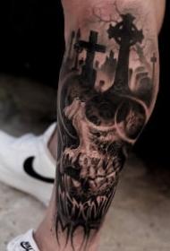 骷髅tattoo 不惧死亡,由死向生的暗黑色骷髅纹身图片