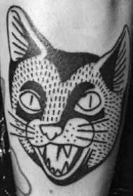 猫头纹身 一组9款黑猫头主题的纹身图片