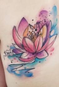 蝶恋花 与莲花有关的一组水彩纹身图片