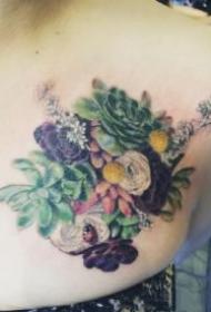 好看的一组彩色多肉植物纹身图片