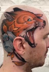 头部纹身 大面积头皮上的一组纹身作品图案