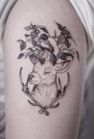 素花和动物搭配的一组创意黑灰纹身作品