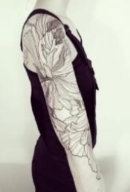植物花臂纹身 9款素花植物的黑灰点刺花臂纹身作品图案