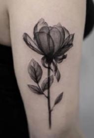 黑灰色的一组好看花朵纹身图片作品