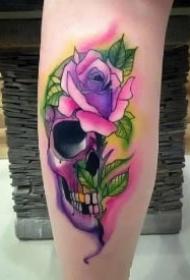 玫瑰与骷髅纹身 象征爱情的重生的玫瑰骷髅纹身图案