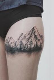 有山有水有树林的9款黑灰风景纹身图片