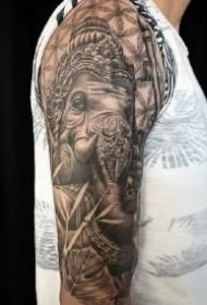 9款好看的象神纹身作品图案