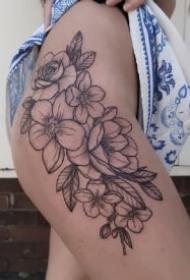 女生素花纹身 18款女神性感的素花元素纹身作品图案