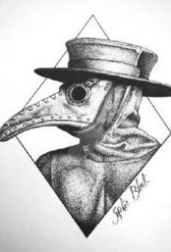 鸟嘴医生主题的几款纹身作品和手稿图片