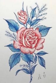 红蓝色创意的一组花朵纹身图案