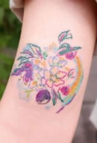蜡笔纹身 韩国纹身师Lala的彩色涂鸦蜡笔风格小纹身作品