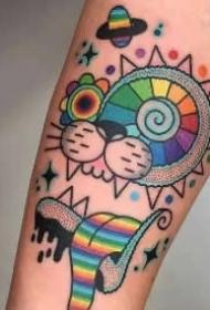 精美的一组抽象彩色纹身图案作品
