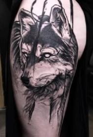 包臂狼主题的一组帅气狼纹身作品图