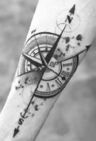 小臂指南针纹身 胳膊小臂上的9款黑灰指南针纹身作品图片