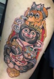 日式school动物吃拉面的纹身图片