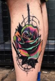 水彩色绚丽的9款玫瑰纹身作品