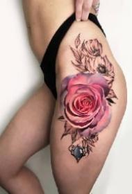欧美花卉写实的18款花朵纹身作品