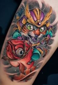 日式猫武士主题的几款纹身作品