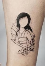 花木兰纹身 中国风人物花木兰主题的纹身作品和手稿