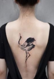 仙鹤刺青 中国风传统水墨仙鹤的纹身图片
