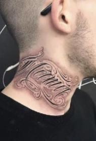 不错的一组花体字纹身作品图片