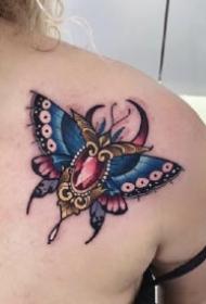 飞蛾刺青 school的彩色创意飞蛾纹身图片
