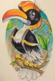 挺活泼可爱的一组school彩色小鸟纹身图片