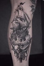 一组青岛刺青黑灰纹身图案