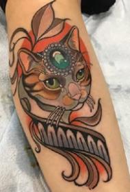 一组newschool动物彩色纹身图案