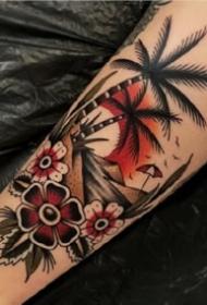 一组美式风格oldschool手臂纹身