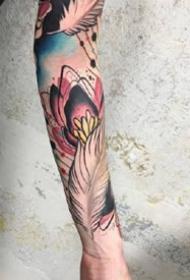 一组抽象感觉的水彩纹身图案