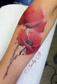 一组漂亮的水彩花卉纹身图案