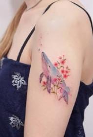 一组清新唯美的彩绘纹身图案