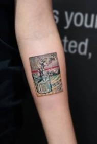一组油画艺术插画纹身图案