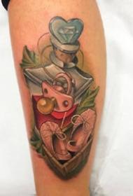 一组可爱的卡通彩色系纹身图案