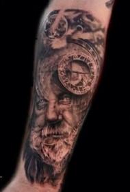 一组欧美写实暗黑风格手臂纹身