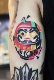 一组彩色不同风格的纹身